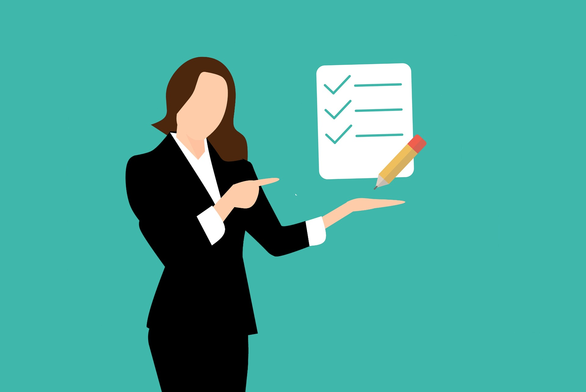 Woman pointing towards checklist